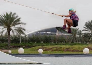 Lady wakeboarder